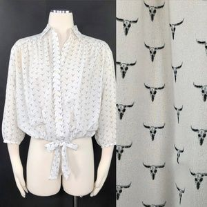 Levi's Skull Longhorn Print Blouson Shirt White XS